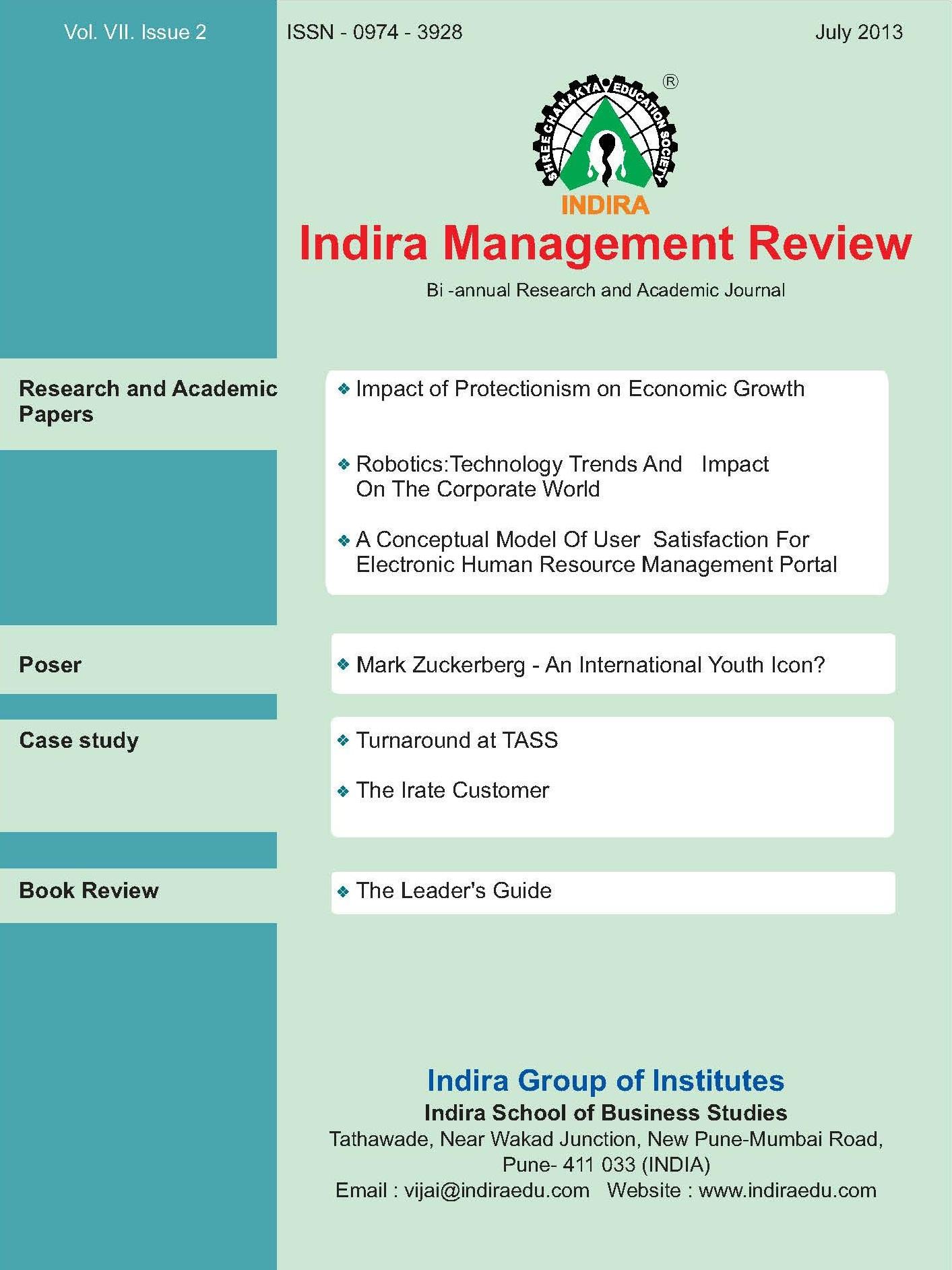 Indira Group Of Institutes (IGI) - Publication Indira Management Review